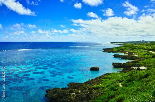 Miyakojima w środku lata. Morze rafy koralowej widziane z Imgar Marine Garden