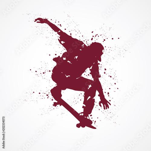 Canvas Print Skateboard-tâches rouges