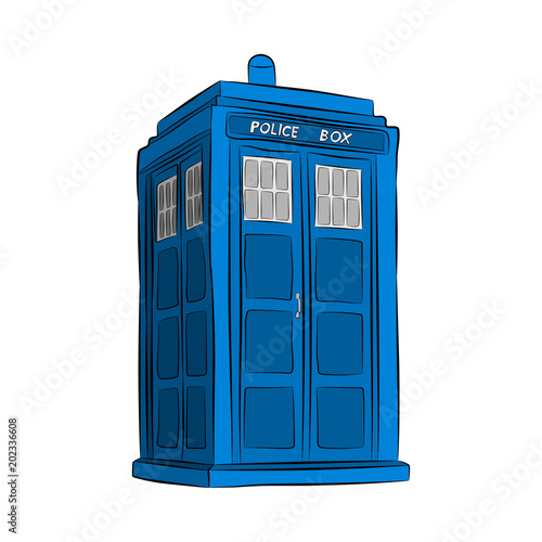 Photo blue police box contour drawing in pencil