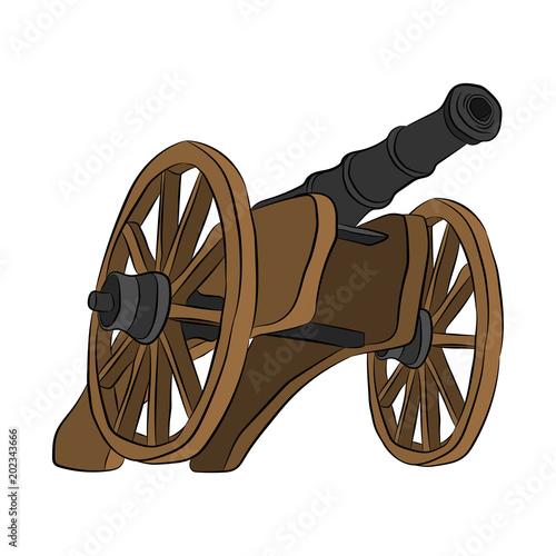 Stampa su Tela medieval cannon contour drawing in pencil
