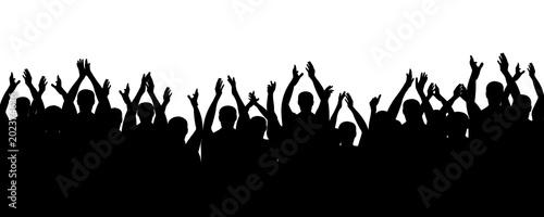 Fotografering Crowd people cheering, cheer hands up