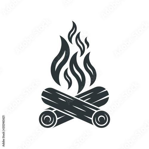 Fotografie, Tablou Bonfire icon. Campfire logo