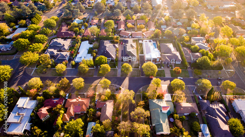 Canvas Print Aerial view of a green leafy suburb