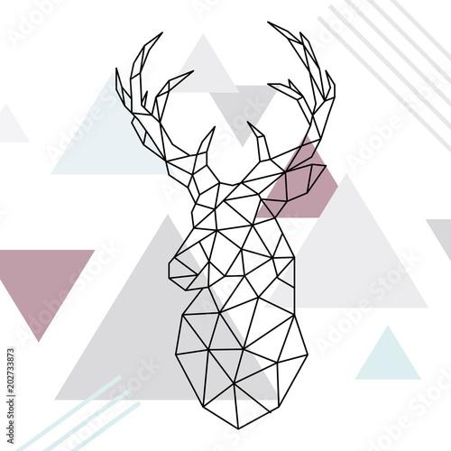 Fototapeta Geometric reindeer illustration