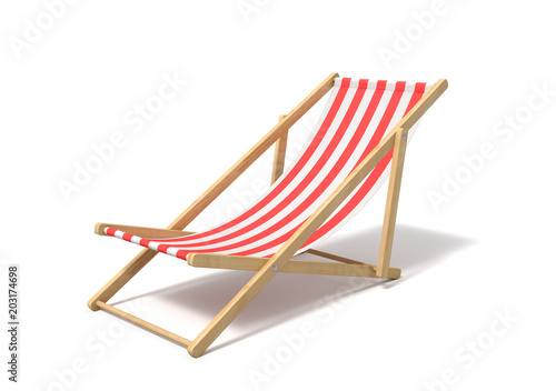 Photo 3d rendering of a white red deckchair isolated on a white background