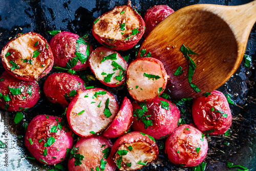 Roasted radishes in a pan