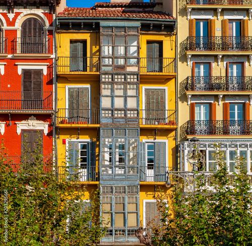 Obraz na płótnie Houses in the old town of Pamplona, Spain