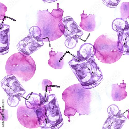 Bezszwowy akwarela wzór z napojem, koktajl z cytryną, lód, mojito, smoothies. Cytryna owocowa, liść mięty. różowy, fioletowy, monochromatyczny wzór, plusk abstrakcyjnych plam.