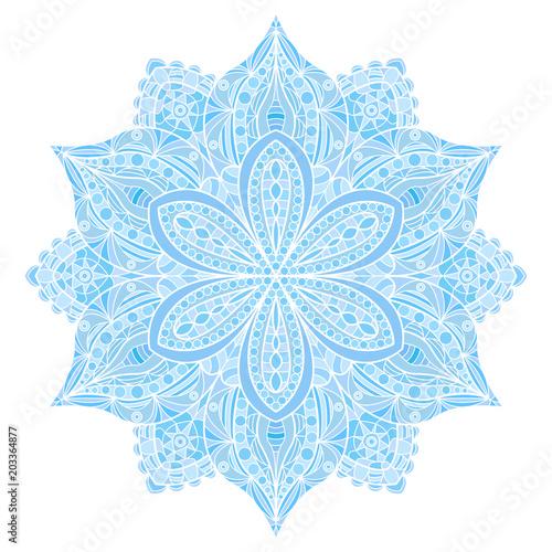 Ταπετσαρία τοιχογραφία Mandala. Blue indian floral ornament