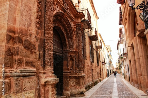Narrow streets with Renaissance style houses in Alcaraz, Spain