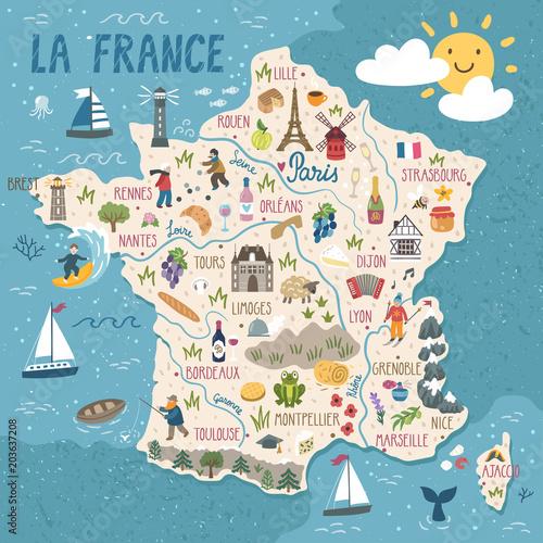Fotografia Vector stylized map of France