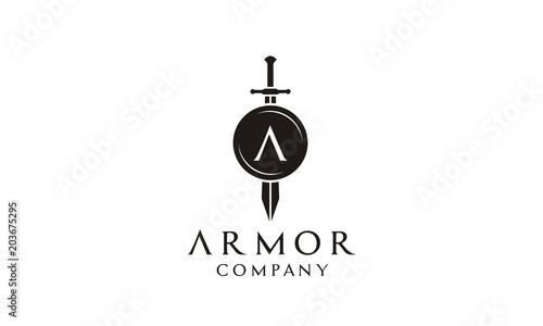 Fotografija Shield Armor Sword Initial Letter A for Military Legal Insurance logo design ins