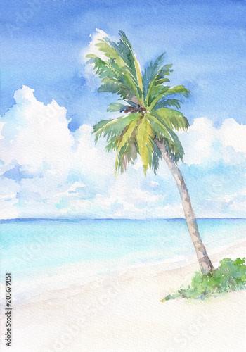 Raj tropikalna plaża z palmą. Dłoń akwarela ilustracja.