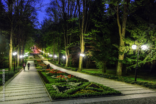 The promenade in the park in the spa Polanica-Zdrój