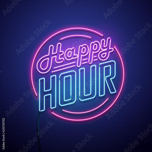 Happy hour neon sign. Vector illustration. Fototapet