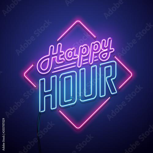 Fotografiet Happy hour neon sign. Vector illustration.