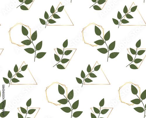 Liście z trójkątów złotych linii, sześciokąty tło. Modny botaniczny wzór. Szablon do pakowania, baner, karty, ulotki, zaproszenia, wesele, reklama drukowana, media społeczne, afisz