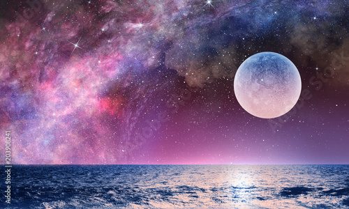 Canvastavla Full moon in night starry sky