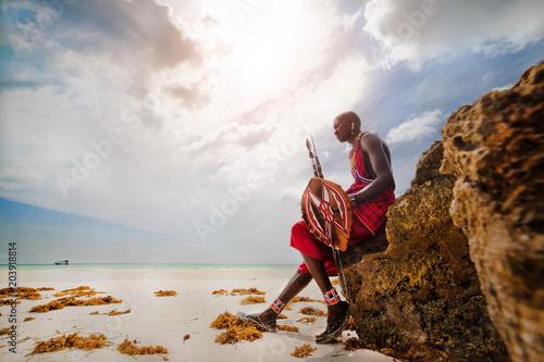 Canvas Print Portrait of a Masai warrior,DianiBeach, Ukunda, Kenya