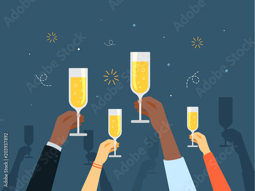 Canvas Print Hands with champagne.