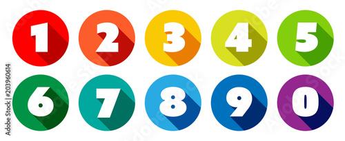 Stampa su Tela Chiffres 0 à 9 dans cercle multicolores
