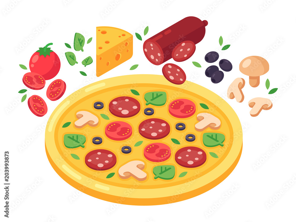 Pizza and products for pizza vector isometric illustration. Tomato, cheese, pepperoni, mushrooms and olives. Isolated isometric illustration on white background. <span>plik: #203993873 | autor: Masmas</span>