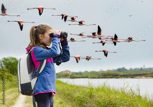 Young girl bird watching