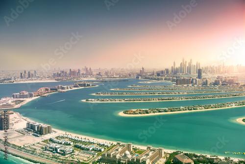 Obraz na płótnie Dubai skyline from Palm Island, United Arab Emirates