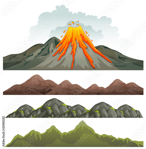 Big Volcano and Rocky Landscape Fototapete