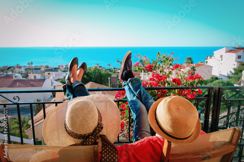 Valokuvatapetti happy couple relax on balcony terrace