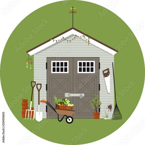 Fotografía Garden shed with gardening tools around it, EPS 8 vector illustration, no transp