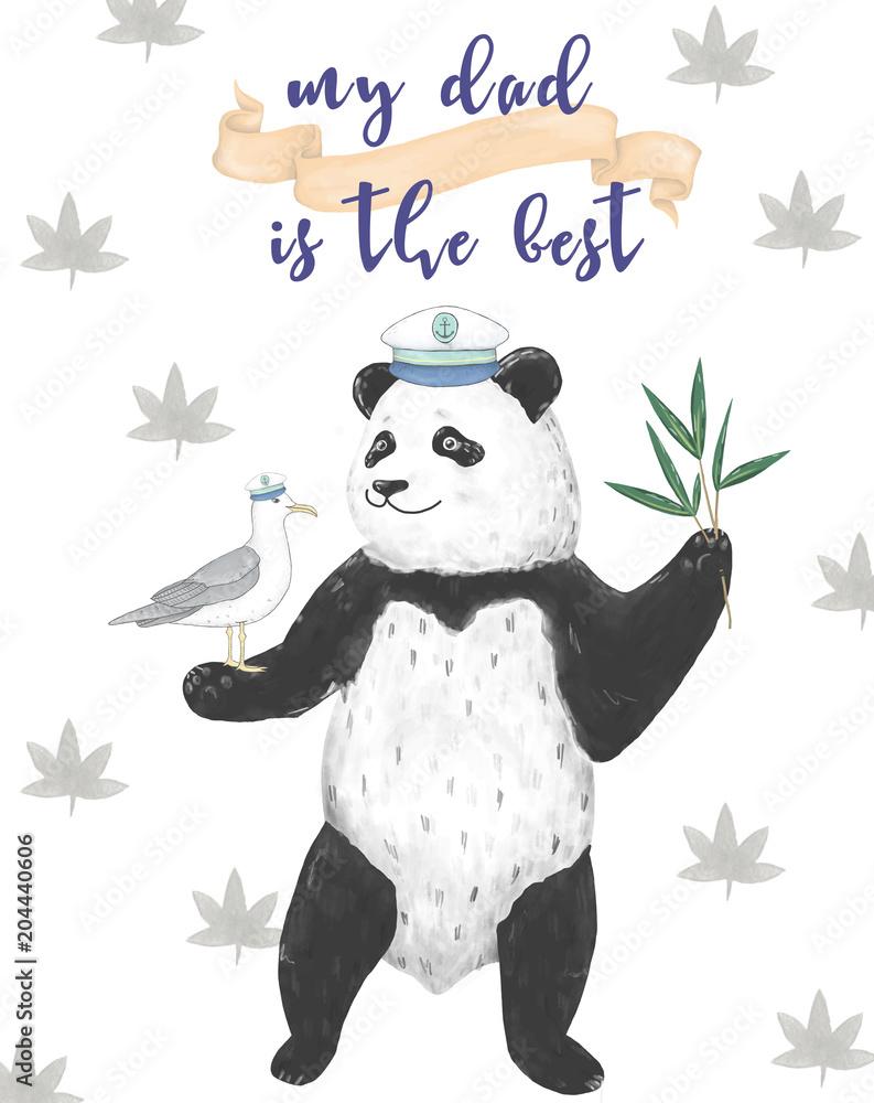 Najlepszy tata, szczęśliwy dzień ojców, białe tło z niebieskimi chmurami. Szablon karty z pozdrowieniami. Cyfrowy klip panda Panda. Geometryczna karta podarunkowa. Najlepszy ojciec. Kapitan Bear. Dreamer tato. Karta z gotowymi danymi tekstowymi. <span>plik: #204440606   autor: Anna Terleeva</span>