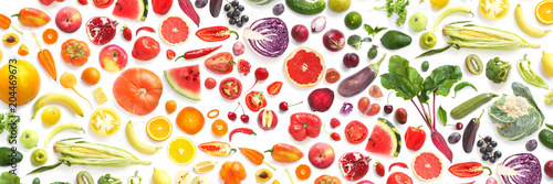 pattern of various fresh vegetables and fruits isolated on white background, top view, flat lay. Composition of food, concept of healthy eating. Food texture.