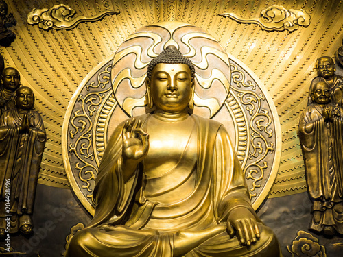 Guangzhou, CHINA-MARCH 27, 2018: Bodhisattva made of brass sheet, The bodhisattva of mercy and compassion.