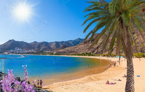 Canvas Print Idyllic beach holiday in Tenerife - Las Teresitas beach in a sunny day in summer