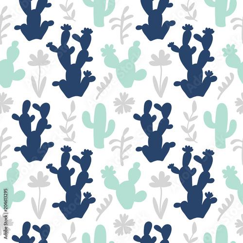 Ręcznie rysowane kwiatowy meksykański kaktusów powtarzalny wzór