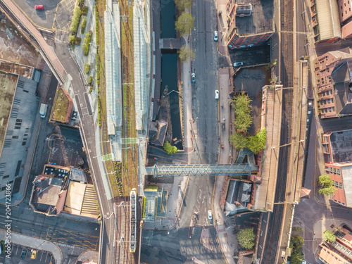 Photo Manchester City Centre Drone Aerial View Above Building Work Skyline Construction Blue Sky Summer Beetham Tower Deansgate