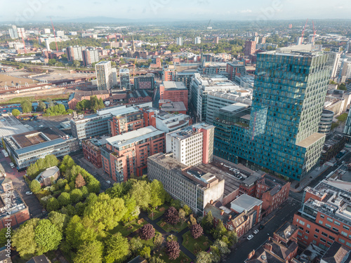Fotografering Manchester City Centre Drone Aerial View Above Building Work Skyline Construction Blue Sky Summer Beetham Tower Deansgate