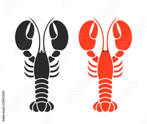 Fotografie, Obraz Lobster logo. Isolated lobster on white background