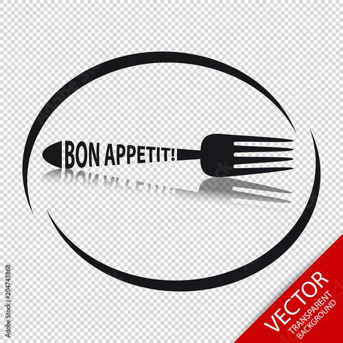 Fototapeta Fork Icon Bon Appetit - Circular Restaurant Symbol - Isolated On Transparent Bac