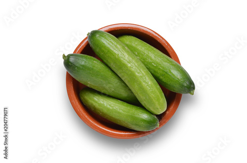 Bowl of small cucumbers