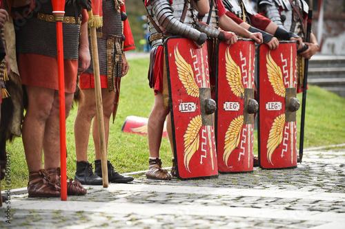 Reenactment detail with roman soldiers uniforms Fototapeta