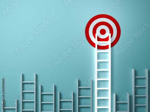 Fotografia Stand out from the crowd and different creative idea concepts , Longest light ladder glowing and aiming high to goal target among other short ladders on green background with shadows