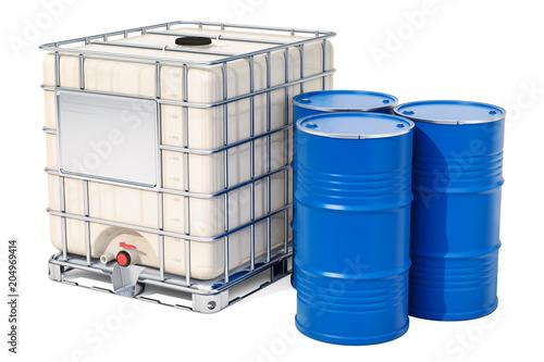 Leinwand Poster Intermediate bulk container with metallic barrels, 3D rendering