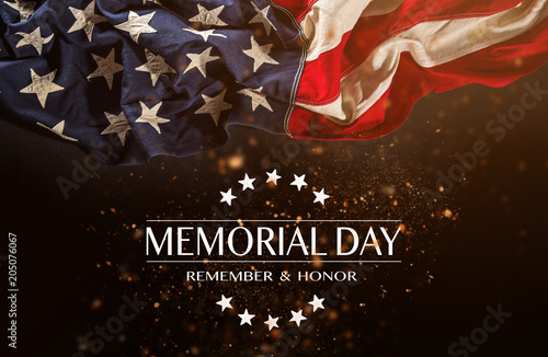 Fotografie, Obraz American flag with the text Memorial day.