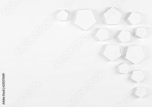 Fototapeta premium Streszczenie akumulacji shinny białe wielokąty z miejscem na tekst. Renderowania 3d