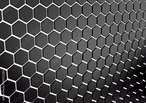 Fototapeta premium Streszczenie tablica shinny czarne wielokąty. Renderowania 3d