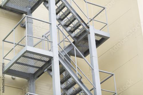 Stampa su Tela White fire escape staircase. Way of evacuation