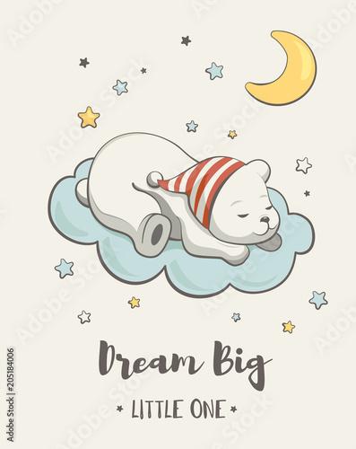 Śliczny marzy mały miś, ilustracja kreskówka wektor, plakaty do pokoju dziecka, kartki z okazji urodzin baby shower, koszulki i ubrania dla dzieci i niemowląt, ilustracja przedszkola