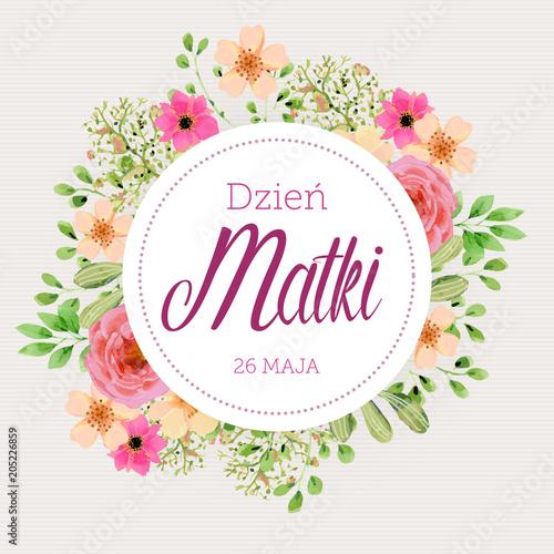 Dzień Matki 26 Maja - kartka z motywem kwiatowym